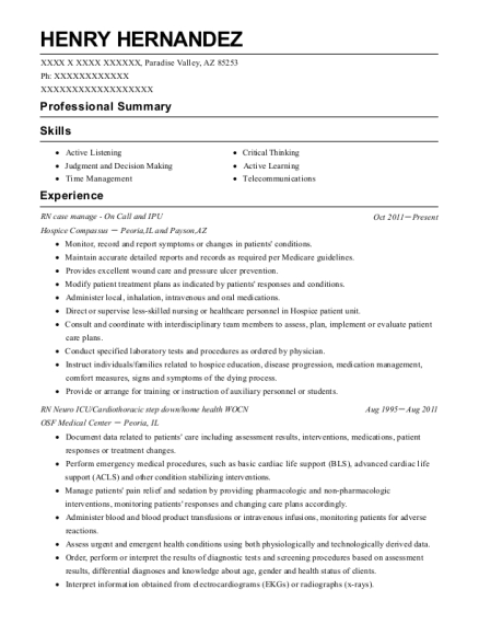RN case manage On Call and IPU resume template Arizona