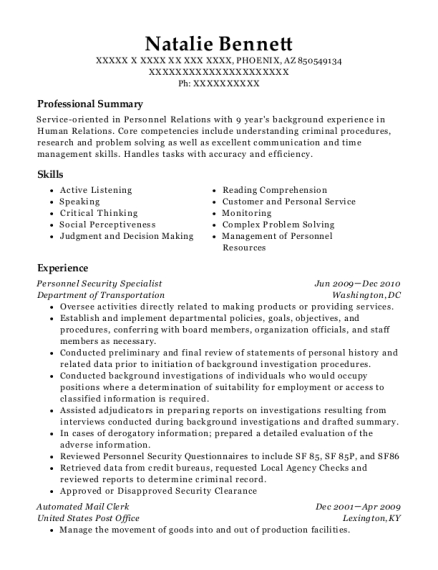 Personnel Security Specialist resume example Arizona