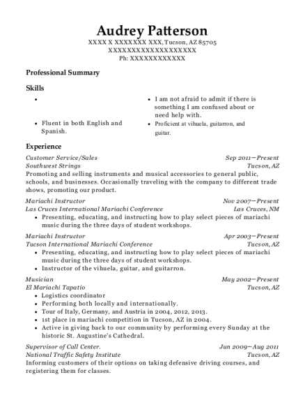 Customer Service resume format Arizona