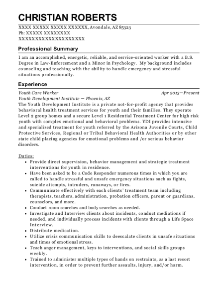 Youth Care Worker resume template Arizona
