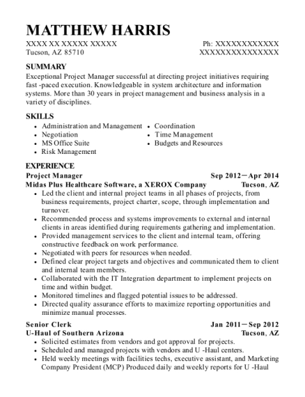 Project Manager resume sample Arizona