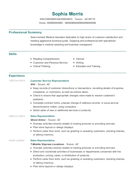 Customer Service Representative resume example Arizona