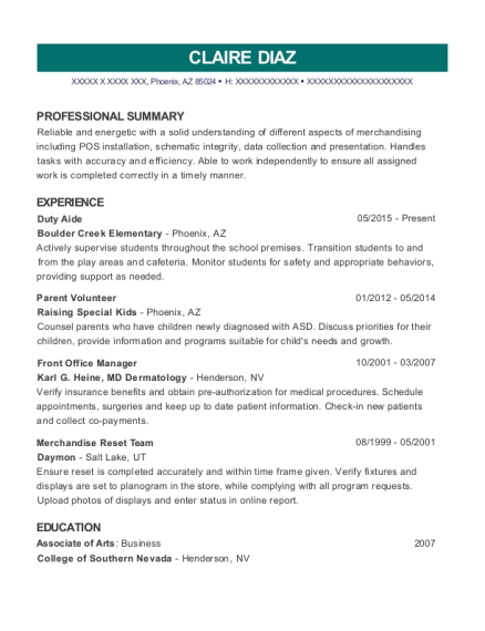 Duty Aide resume example Arizona