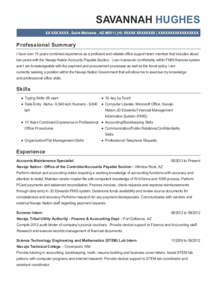 Accounts Maintenance Specialist resume template Arizona