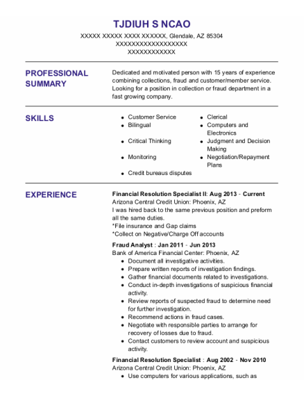Fraud Analyst resume template Arizona