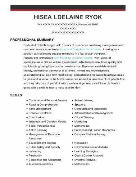 Guest Service Manager resume format Arizona