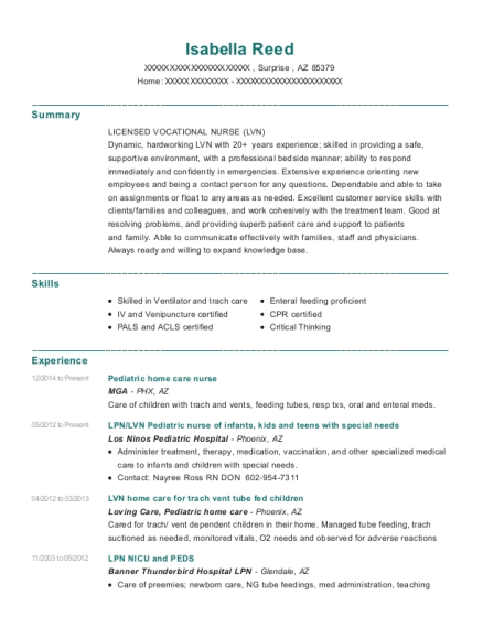 Pediatric home care nurse resume sample Arizona