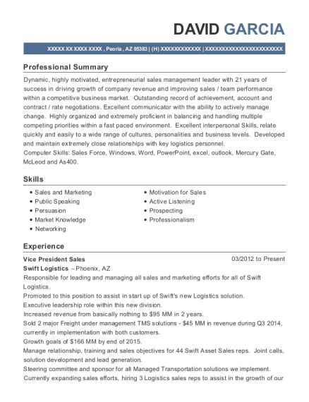 Vice President Sales resume template Arizona