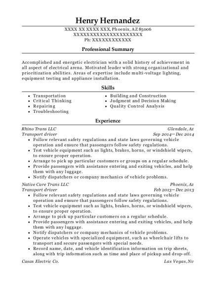 Transport driver resume format Arizona