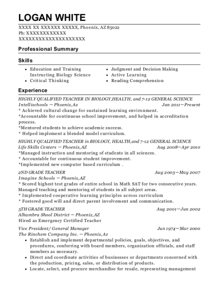 HIGHLY QUALIFIED TEACHER IN BIOLOGY resume example Arizona