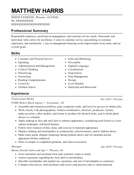 Professional Model resume sample Arizona