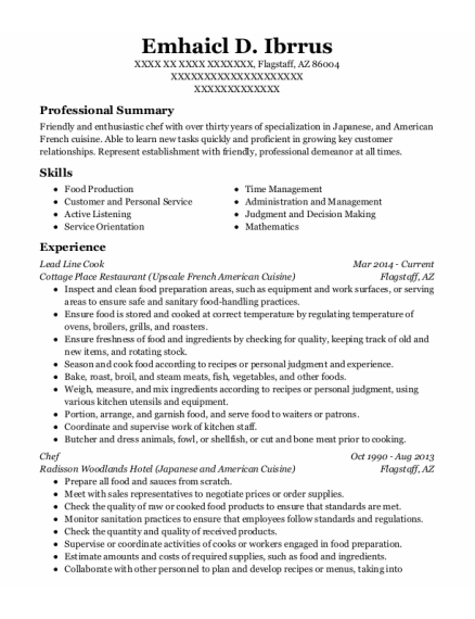 Lead Line Cook resume template Arizona