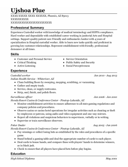 Custodial Worker resume example Arizona