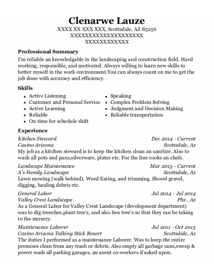 Kitchen Steward resume sample Arizona