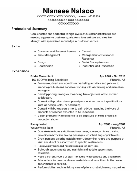 Bridal Consultant resume template Arizona