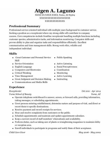 Receptionist resume template Arizona