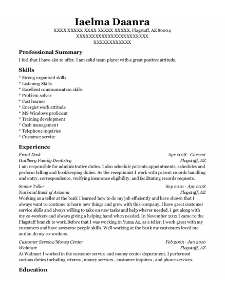 Front Desk resume sample Arizona