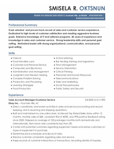 Sales Account Manager resume sample Arizona