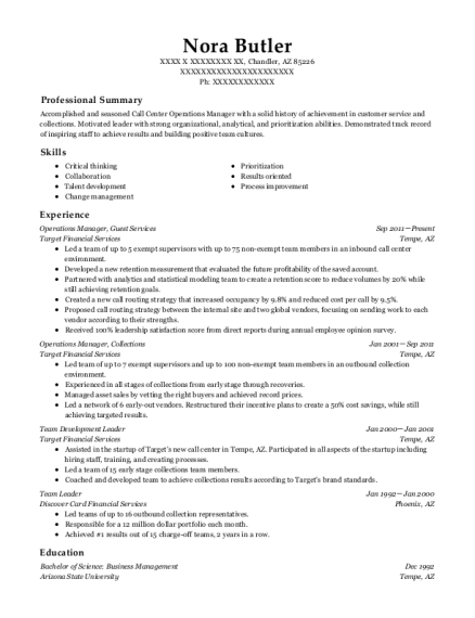 Operations Manager resume example Arizona