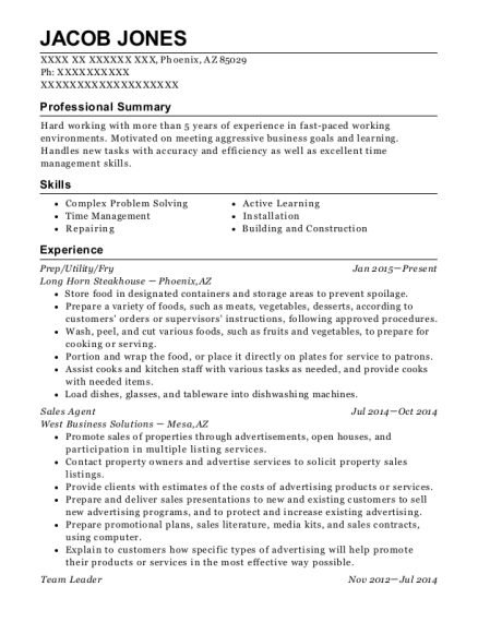 Prep resume template Arizona