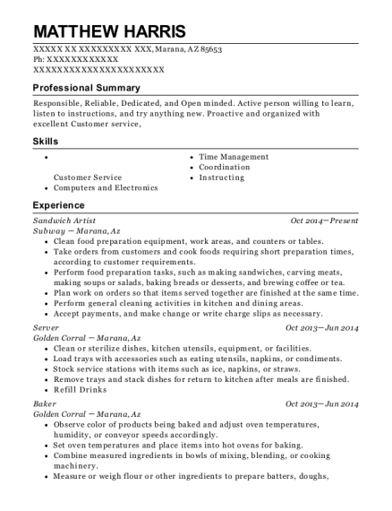 Sandwich Artist resume example Arizona