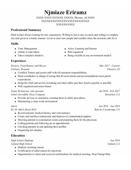 Hostess resume template Arizona