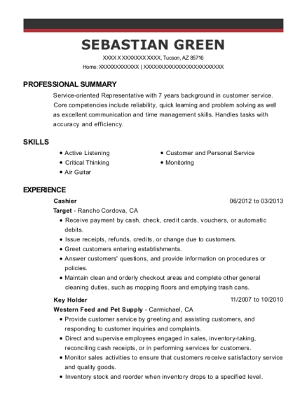 Cashier resume template Arizona