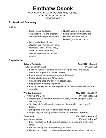 Team Lead resume format Arizona
