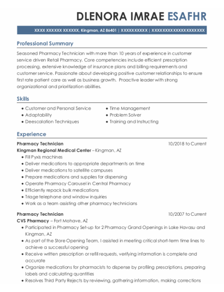 Pharmacy Technician resume example Arizona