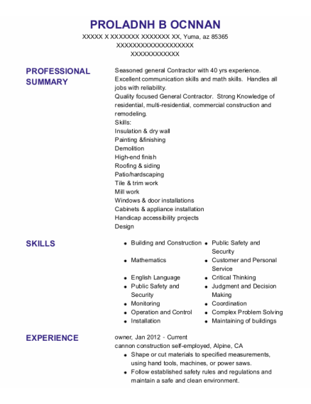 Owner resume example Arizona