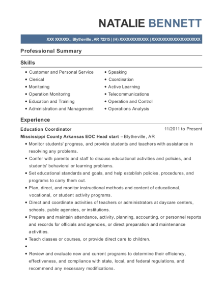 Education Coordinator resume template Arkansas