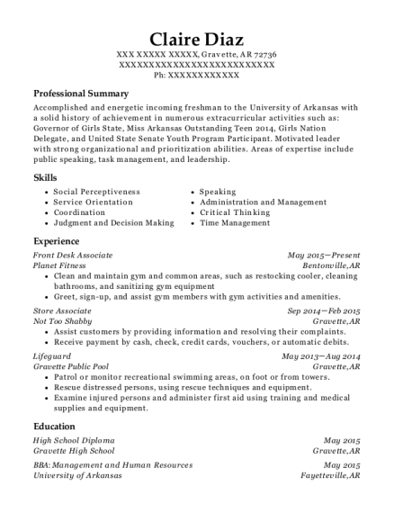 Front Desk Associate resume example Arkansas