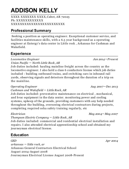 Locomotive Engineer resume template Arkansas