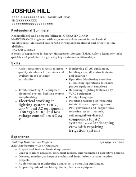 Building Maintenance Engineer resume sample Arkansas