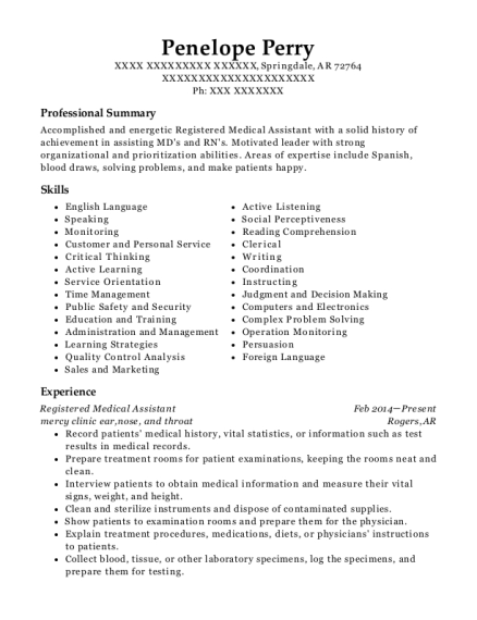Registered Medical Assistant resume example Arkansas