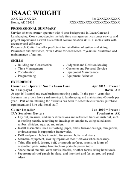 Owner and Operator Noahs Lawn Care resume template Arkansas
