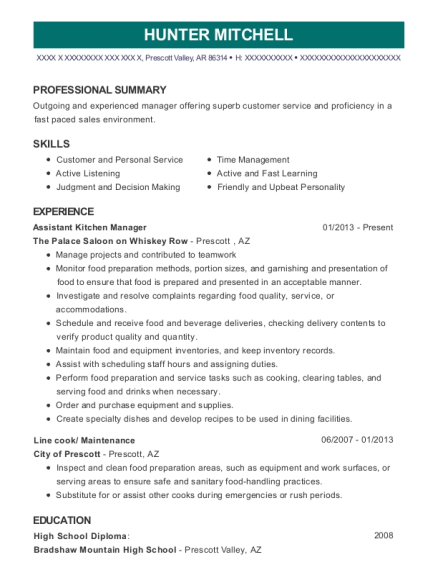 Assistant Kitchen Manager resume example Arkansas