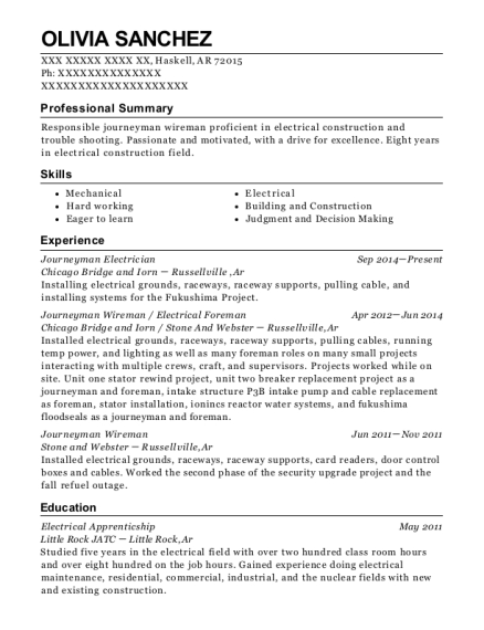 Journeyman Electrician resume format Arkansas