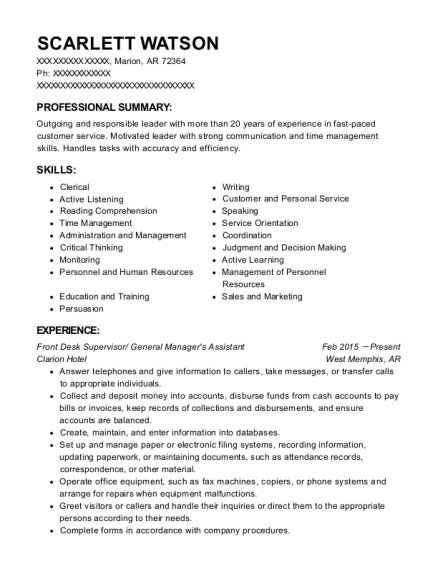 Front Desk Supervisor resume example Arkansas