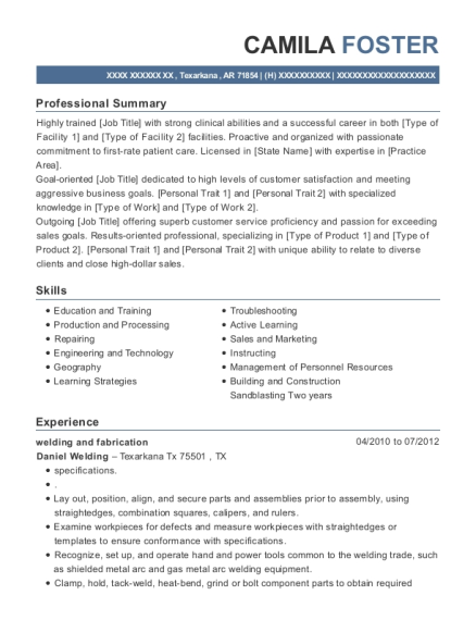 welding and fabrication resume format Arkansas