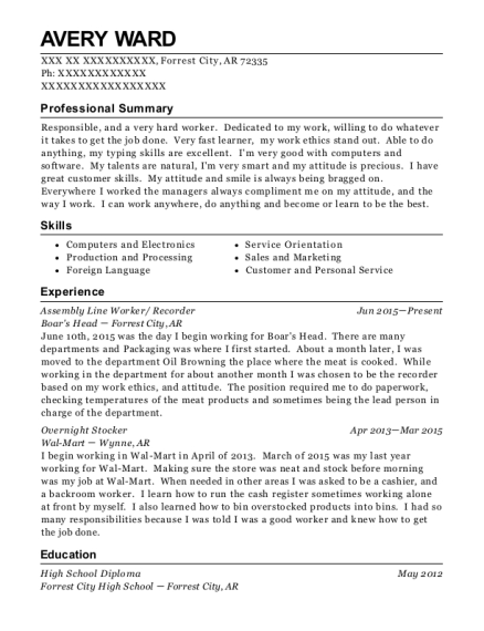 Assembly Line Worker resume sample Arkansas