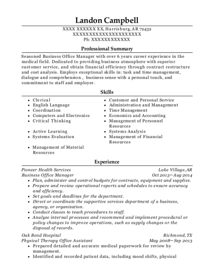 Business Office Manager resume format Arkansas