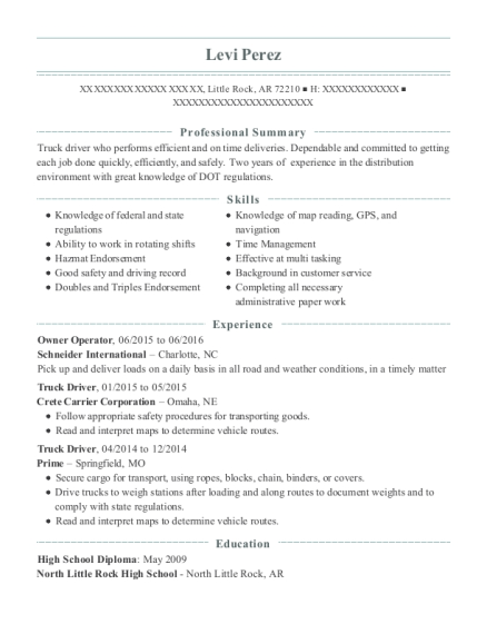 Owner Operator resume template Arkansas