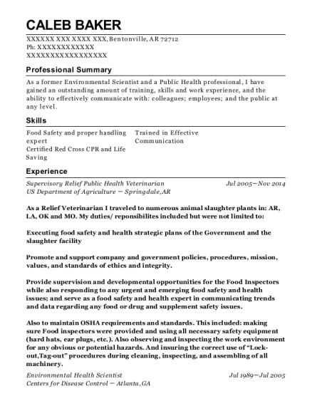 Supervisory Relief Public Health Veterinarian resume sample Arkansas