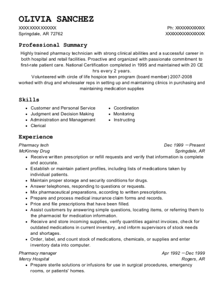 Pharmacy tech resume template Arkansas