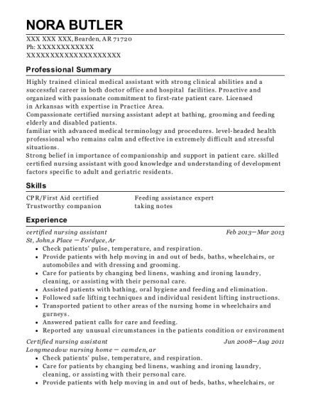 certified nursing assistant resume example Arkansas