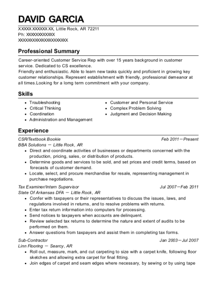 CSR resume sample Arkansas