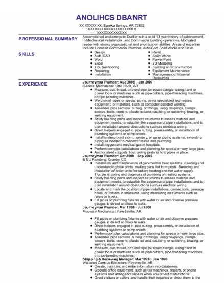 Journeyman Plumber resume template Arkansas