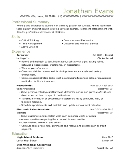 Caregiver resume example Arkansas