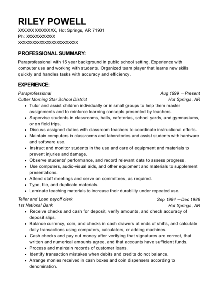 Paraprofessional resume example Arkansas